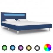 vidaXL kék szövetkárpitozású LED-es ágykeret 140 x 200 cm