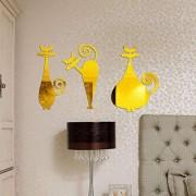 LIMINGXV Decoración De La Habitación Extraíble Tres Gatos Espejo Pegatinas De Pared Calcomanía De Acrílico Arte Decoración De La Habitación Del Hogar Tamaño De Bricolaje 50X29 Mm