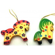 HORSE set os 2 Russian Hand Carved Hand Painted CHRISTMAS ORNAMENT / Wood