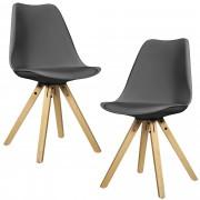[en.casa]® Étkezőszék szett Annika 2 darab design szék fa lábakkal 85 x 48.5 cm szürke
