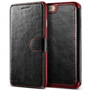 Verus Dandy Layered Case - кожен калъф, тип портфейл за iPhone 8, iPhone 7 (черен)