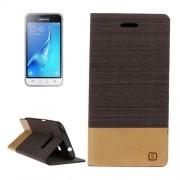 Samsung Galaxy J1 (2016) Case, J120 Case, Canvas Pattern PU + TPU Horizontal Flip Leather Case with Holder & Card Slots (Brown)