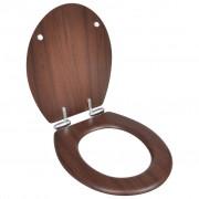 vidaXL WC ülőke MDF puha lezáró egyszerű Fa kivitel
