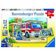 Puzzle 2 in 1 - Politie si pompieri, 24 piese