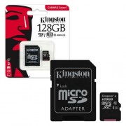 Micro SDHC card + Adapter (128GB class 10) Kingston Speed 80MB/s