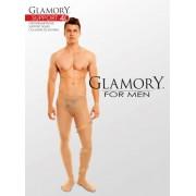 Semi-heltäckande plus size strumpbyxa för män med inbyggd kompression Support 40 från Glamory black 2XL