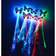 "Butterfly 14"" LED Fiber Optic Flashing Hair Braid Extensions Light Up Flash Barrette Clip Braid - Various Styles by SWONVI"