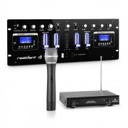 Resident DJ DJ405USB BK 4-canal-DJ-Mixer incluye micrófono VHF de 1 canal (PL-30865-28788)