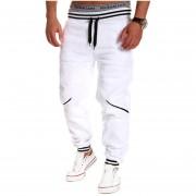 Cordón De Hombres Pantalones De Chándal Emparejador De Contraste (blanco)