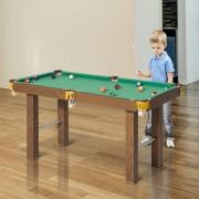 HomCom Mesa de Bilhar de Madeira para Crianças +3 Anos e Adultos - 123.5x66.5x66cm