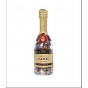 Valentijn - Champagnefles - Jij bent goud waard - Gevuld met een mix van verpakte toffees - In cadeauverpakking met gekleurd lint