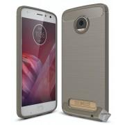 Housse Etui Coque Silicone Gel Carbone Pour Motorola Moto Z2 Play + Film Ecran - Gris
