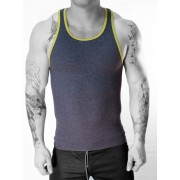 Whittall & Shon MIX Contrast Ribbed Tank Top T Shirt Navy/Gold 304
