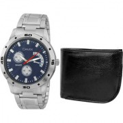 Crude Combo of Blue Dial Watch-rg705 With Black Leather Wallet