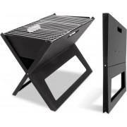 MikaMax BBQ Notebook - Uitklapbare Barbecue - Camping/ Picknick barbecue - Meenemen - Zwart - Metaal