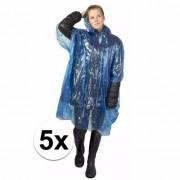 Geen 5x wegwerp regenponcho blauw