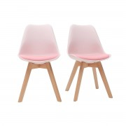 Miliboo Chaises design rose avec pieds bois clair (lot de 2) PAULINE