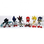 SONIC 6 Piece Figure Set Featuring Sonic Shadow Werehog Metal Sonic Knuckles & Super Sonic - Figures Range from 2 to 3 Tall