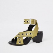 River Island Womens Light Green leather eyelet sandals (4)