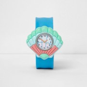 River Island Girls Blue shell snap on watch (One Size)