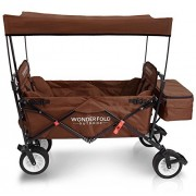 WonderFold Outdoor Premium Model Collapsible Folding Wagon With Canopy, Stand, One Pedal Brake, Wide EVA Tire & Two Wagon Seats With 5-Point Seat-Belt (Chocolate Brown)