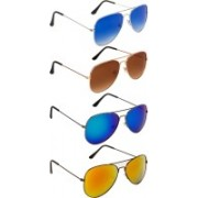 NuVew Aviator Sunglasses(Blue, Brown, Golden, Green, Violet)