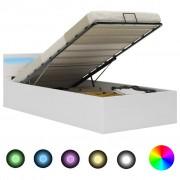 vidaXL Легло повдигащ механизъм с LED бяло изкуствена кожа 100x200 cм