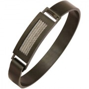 The Jewelbox Square Rope Black Silver 316L Surgical Stainless Steel Openable Kada Bangle Bracelet Men