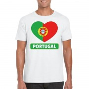Bellatio Decorations Portugese vlag in hartje shirt wit heren
