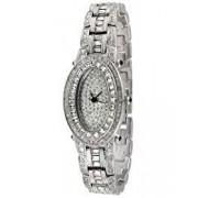 Peugeot Women's J4561 Silver-Tone Oval Crystal Bracelet Watch