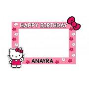 WoW Party Studio Personalized Hello Kitty Theme Birthday Selfie Photo Booth / Frame with Birthday Boy/Girl Name (3ft)