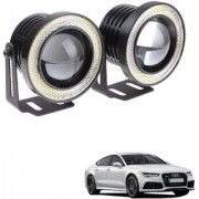 Auto Addict 3.5 High Power Led Projector Fog Light Cob with White Angel Eye Ring 15W Set of 2 For Audi A7