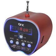QFX CS-82USRD Portable Multimedia Apple Speaker with FM Radio and USB/Micro SD Port - Red
