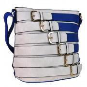 Moderní crossbody kabelka se zlatými přezkami 2124-BB modrá