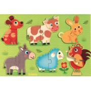 Puzzle din lemn cu șase animăluțe de fermă - Coucou Djeco