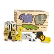Melissa & Doug Personalized Animal Rescue Shape Sorting Truck Wooden Toy with 7 Animals & 2 Play Figures