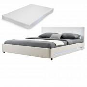 [my.bed] Elegantná manželská posteľ s LED osvetlením - matrac zo studenej HR peny - 140x200cm (Záhlavie: koženka biela / Rám: alcantara koženka sivobiela) - s roštom