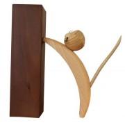 Holzfigur Katze natur kletternd 16cm