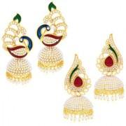 Jewels Gold Alloy Party Wear Wedding Latest Stylish Combo Jhumki Earring Set For Women Girls