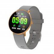 F25 Color Large Round Touch Screen Fitness Monitoring Waterproof Smart Bracelet [Leather Strap] - Grey / Gold