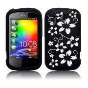 HTC Explorer Flora Силиконов Калъф Черен + Протектор