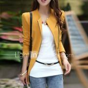 Vrouwen Herfst Blazer Kleurenblok Vierkante hals Lange mouw Zwart / Bruin / Geel Katoen Medium