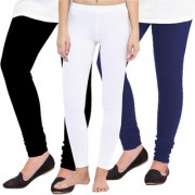 Woolen Leggings for Women Winter Bottom Wear Combo Pack of 3 (Black White and Navy Blue) - Free Size