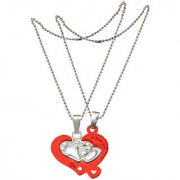 Men Style Crystal Couples Lover Heart Two Half Heart Necklaces Red And Silver Zinc Alloy 00 Necklace Pendant For Men And Women