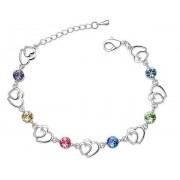 Bratara argint femei Inima dubla cu Cristale SW Multicolor