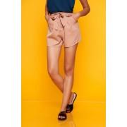 Pantalon scurt SunShine roz prafuit casual cu talie inalta cu buzunare in fata accesorizat cu cordon