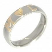 Aliança em Aço Inox 5mm com 1 Coração no Meio e 2 Letras em Ouro