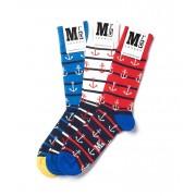 MrD London [3 Packs] Assorted Anchor Stripe Socks B19-001