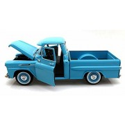 1958 Chevy Apache Fleetside Pickup Truck, Light Blue - Motormax 79311 - 1/24 scale Diecast Model Toy Car