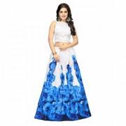New Designer Banglory Satin Silk Sky Blue Color Printed Semi Stitched Lehngha (SKYROZE)